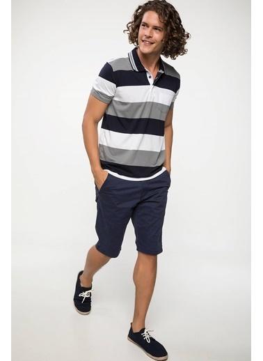 DeFacto Çizgili Polo T-shirt Lacivert
